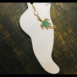 Sea turtle green crystal bracelet anklet